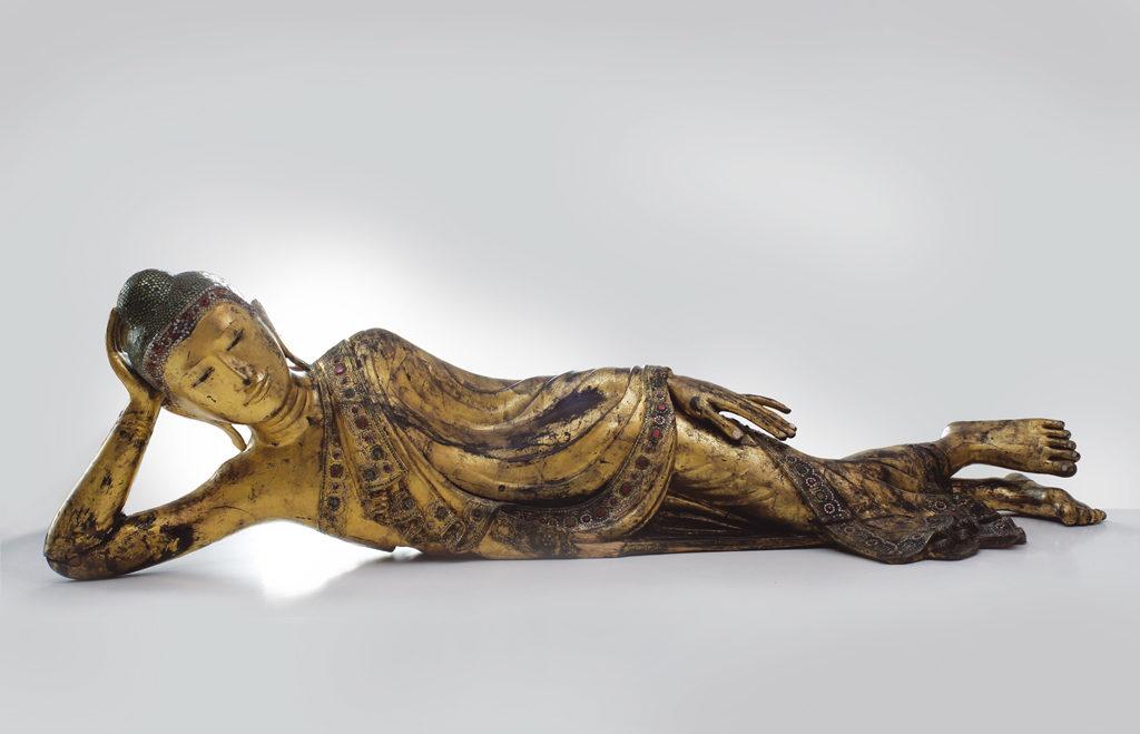Reclining Buddha, mid 19th c. <br> Mandalay Style, Myanmar/Burma
