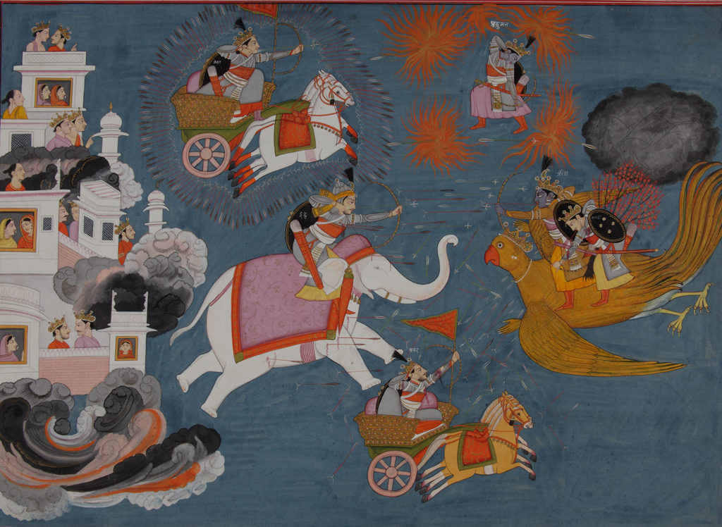 Illustration to the Ramayana, mid 19th c. <br> Pahari School, Kangra style, India