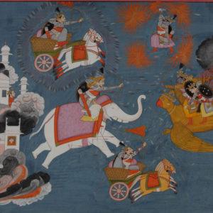 """Илюстрация към """"Рамаяна"""", средата на XIX в. <br> Пахарска школа, стил Кангра, Индия"""