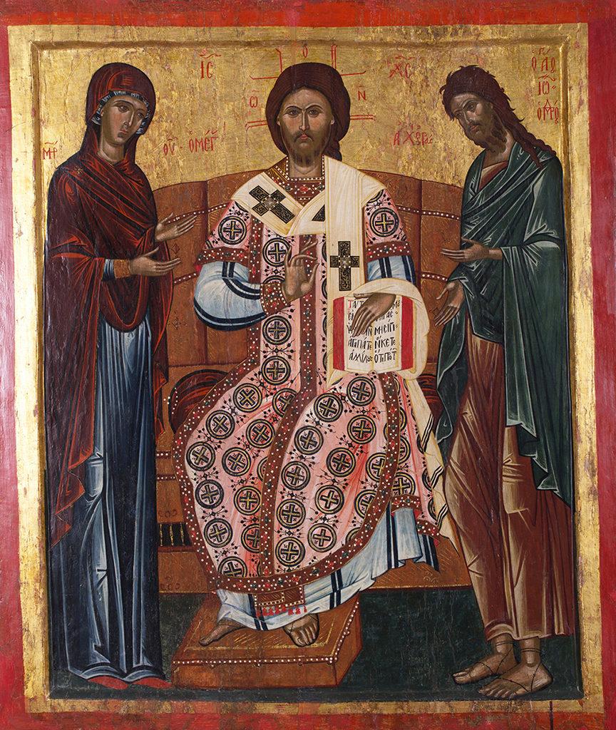 Дейсис с Христос Велик архиерей, началото на ХVІІ в. <br> Несебър