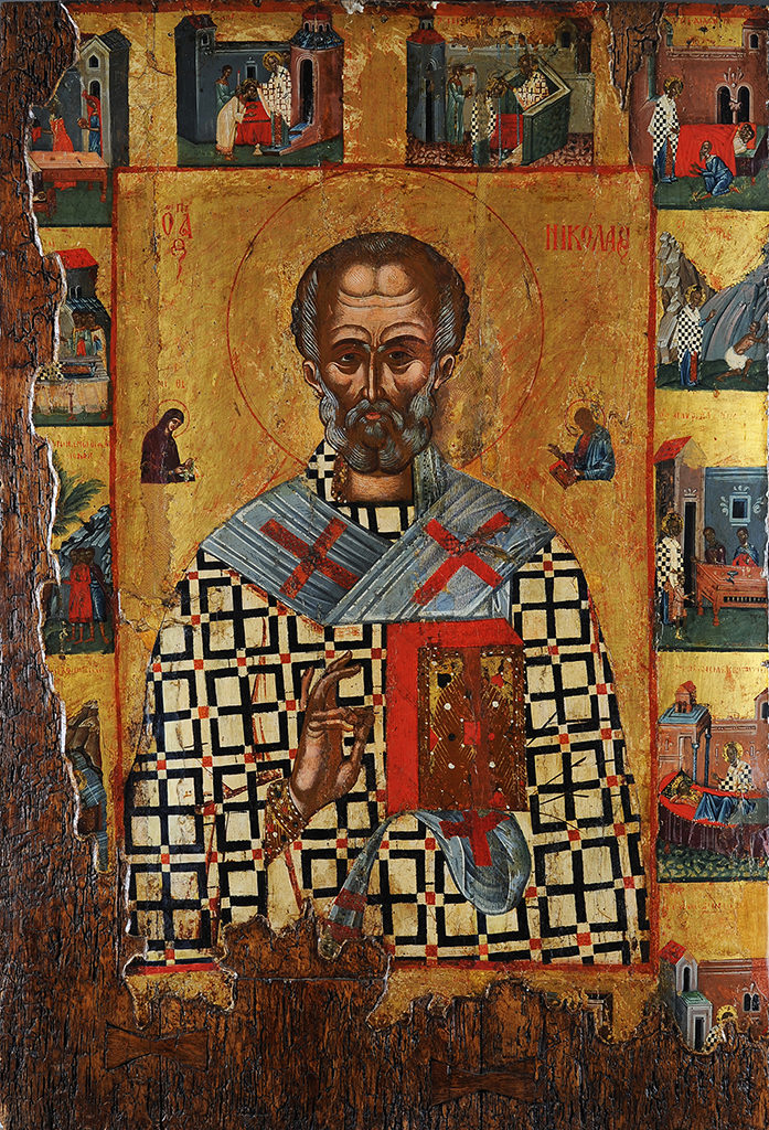 St Nicholas, with Scenes from His Life, 16th–17th c. <br>Veliko Tarnovo