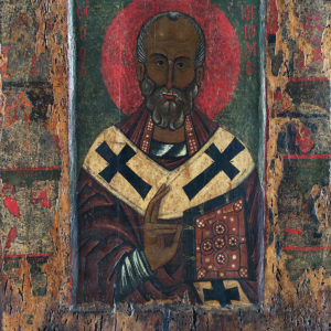 St Nicholas, with Scenes from His Life, late 12th c. <br>Nesebar, the Church of the Ascension of Christ
