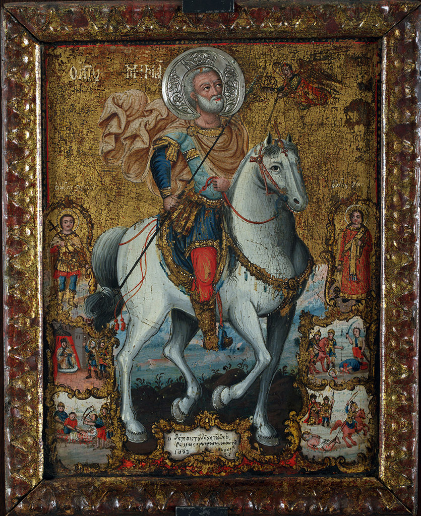 St Menas on Horseback, with Scenes from His Life, Sts Victor and Vincent, 1823<br> The Edirne Art Circle