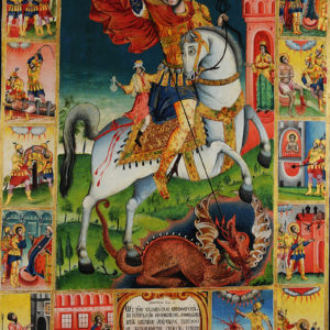 St George Killing the Dragon, with Scenes from His Life, 1838 Icon painter Priest Dimitar Kanchov from Tryavna