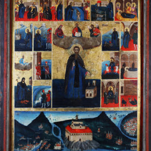 St Nahum of Ohrid, with Scenes from His Life, 19th c. <br>Ohrid