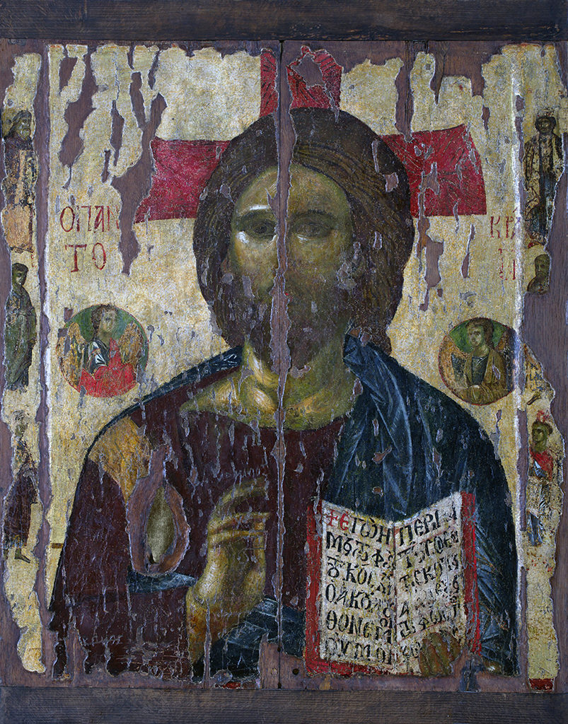Christ Pantocrator with Prophets— The Holy Virgin Gorgoepikoos <br>(She Who Is Quick to Hear) with Prophets<br>Nesebar, the Church of St Stephen (New Metropoly Church)