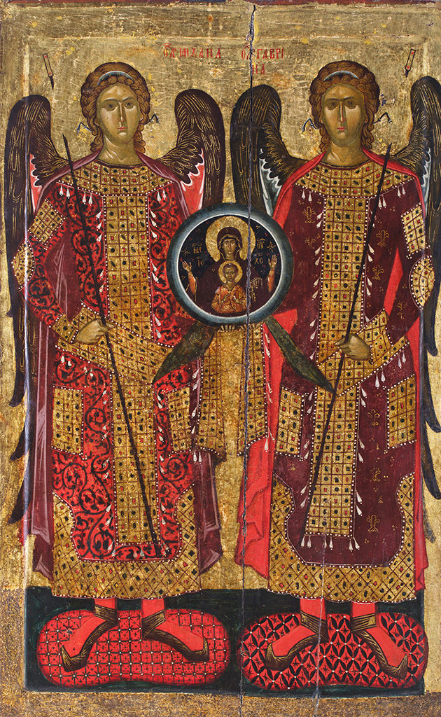 Synaxis of the Archangels, mid 14th c. <br>Bachkovo Monastery, the Church of the Holy Archangels