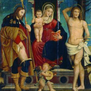 Джовани Росо (Джовани да Мел) (? – 1549), Италия <br> Мадона с Младенеца, Св. Рох и Св. Себастиан, 1526